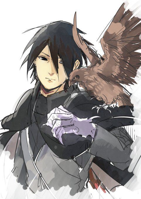 Sasuke Uchiha and one of Itachi's crows Wallpaper