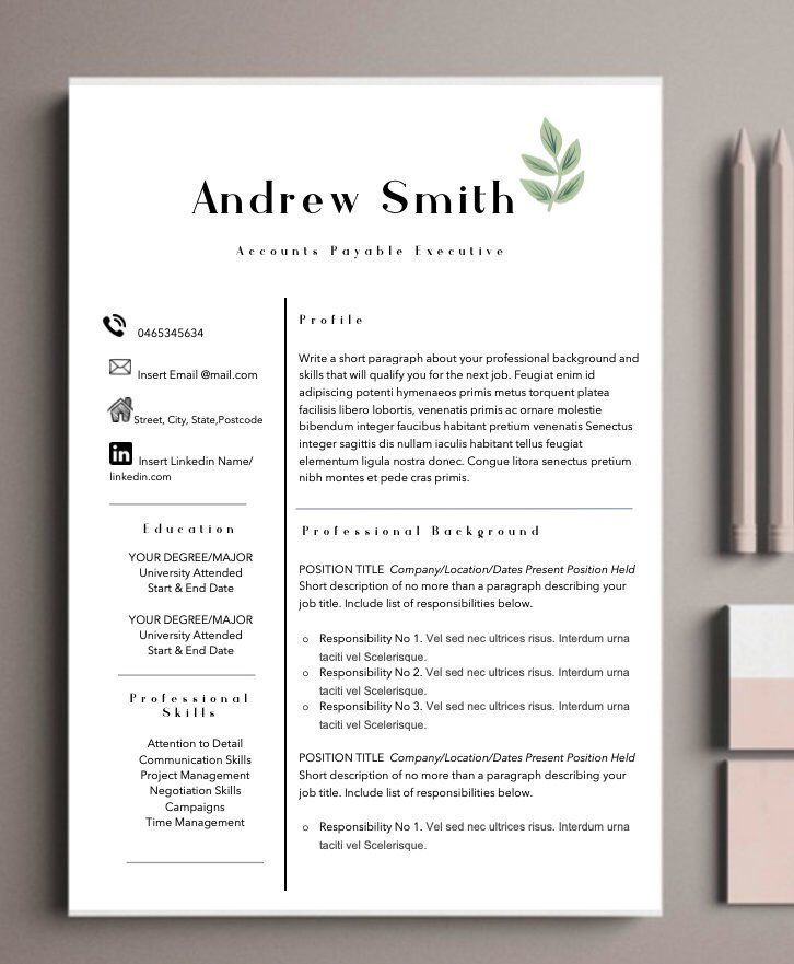 professional resume template    modern resume template   cover letter   administrative assistant