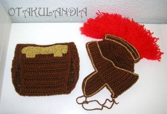 ¿Te gusta y quieres ver más? ¡Síguenos!: https://www.facebook.com/otakulandia.es/  Disfraz para bebé de Espartano, diseñado y realizado a mano en crochet resulta absolutamente espectacular para hacerle las fotos más chulas del mundo...