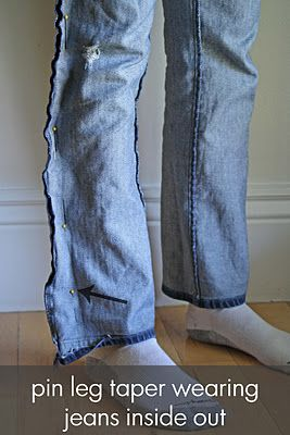 How to modify jeans from boot cut to skinny.