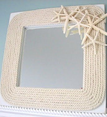 beautiful neutral Nautical Mirror Maybe do something like this to our mirror