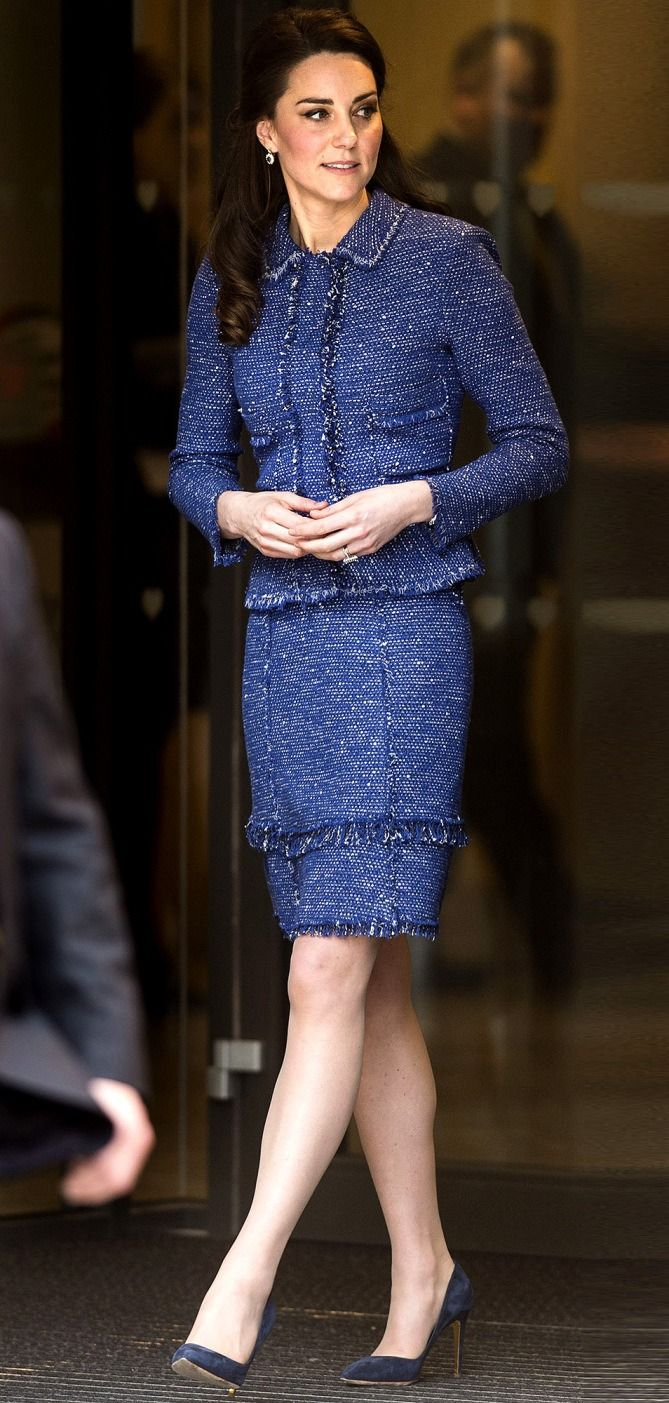Kate Middleton in a blue tweed suit
