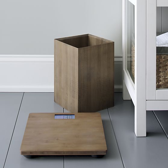 Eco-friendly bamboo goes at right angles as clean-lined, natural bathroom accessories. Each beautifully crafted piece glows with a warm grey finish. Platform scale features modern spa styling with an LCD readout.