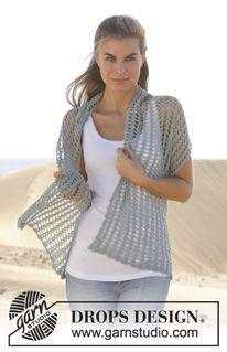 """Down By The Sea - Estola DROPS em croché, em """"Lace"""". - Free pattern by DROPS Design"""