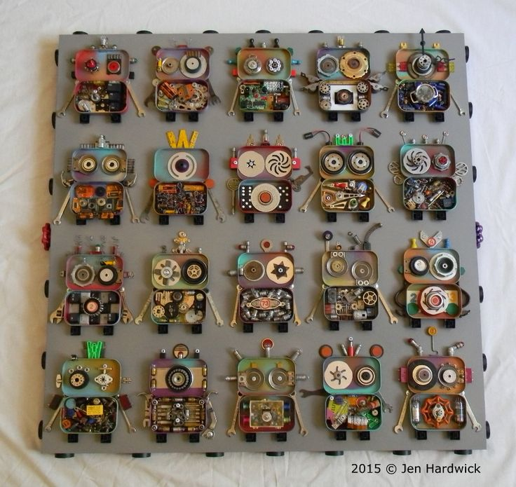 """ROWBOTS"" Recycled assemblage using mint tins, computer and radio parts, found objects, recycled materials, game pieces, sewing notions, light bulbs, wrenches on wood panel. 20 bots on a 30 1∕4""H x 30 1∕4""W panel. 2015 © Jen Hardwick $850.00 Free Shipping. (USA Only). Available to purchase at 3R Technology, Seattle, WA.  If interested in purchasing, please contact Sherae at (206) 957-2682 or sherae@3rtechnology.com"