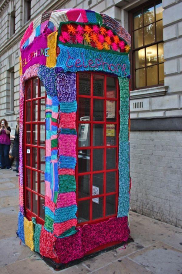 Yarn bombed telephone box
