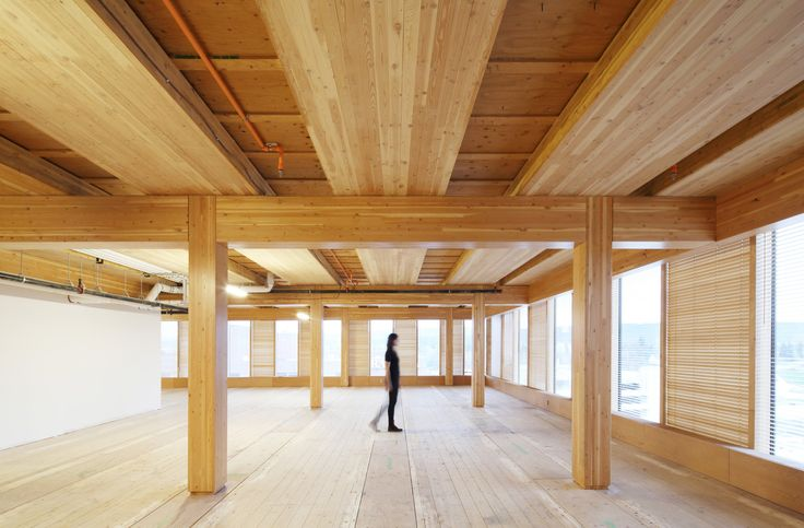 Built by Michael Green Architecture in , Canada with date 2014. Images by Ema Peter. The Wood Innovation Design Centre (WIDC) serves as a gathering place for researchers, academics, and design professio...