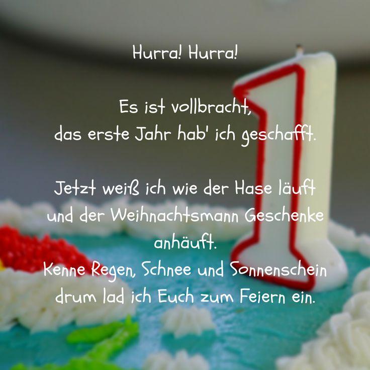 Hurra! Erstes Jahr vollbracht als Spruch für Einladung zum 1. Geburtstag