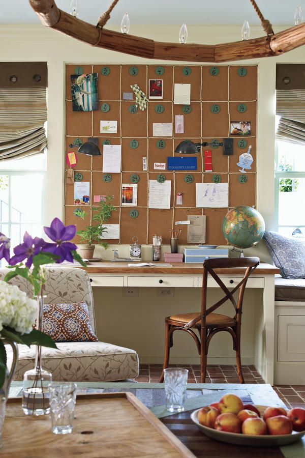 Family Room Calendar - Senoia Georgia Idea House Tour - Southernliving. A corkboard calendar above the built-in desk helps keep track of appointments and parties.Tour the Family Room