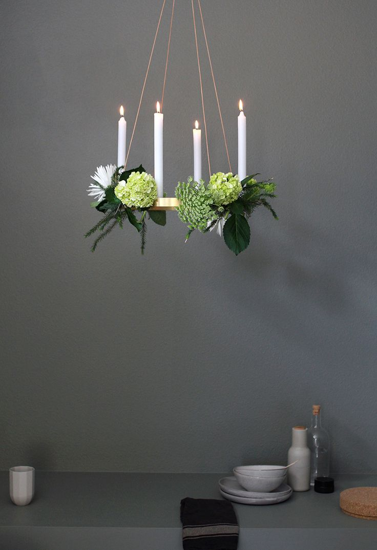 floral chandelier DIY with DLK with the ferm LIVING Candle Holder Circle in brass:  great decorative idea