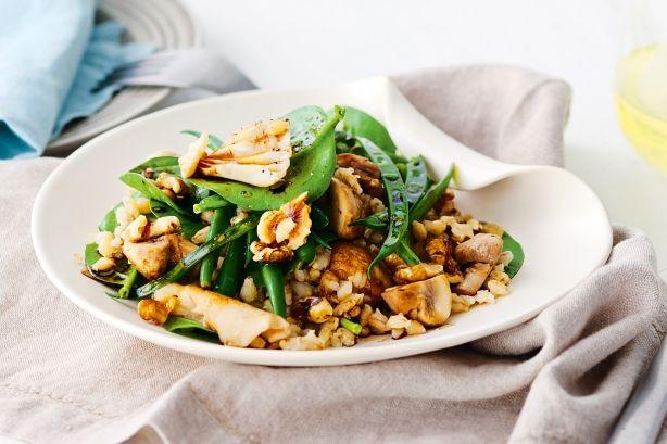 Walnut, mushroom and barley salad