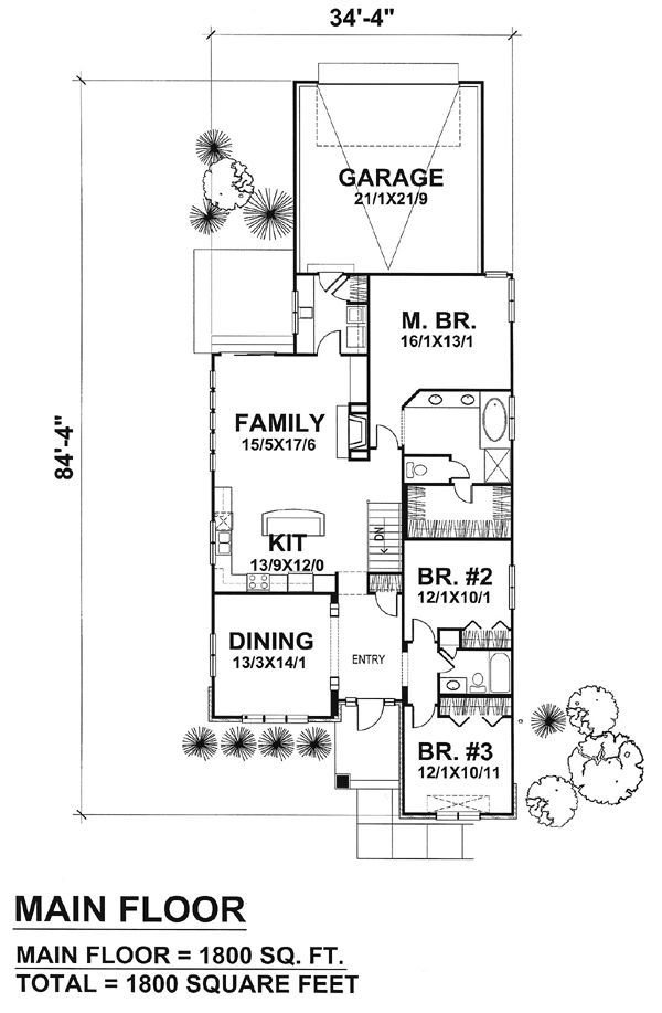 Victorian house plans 1800 square feet for Narrow house plans with attached garage
