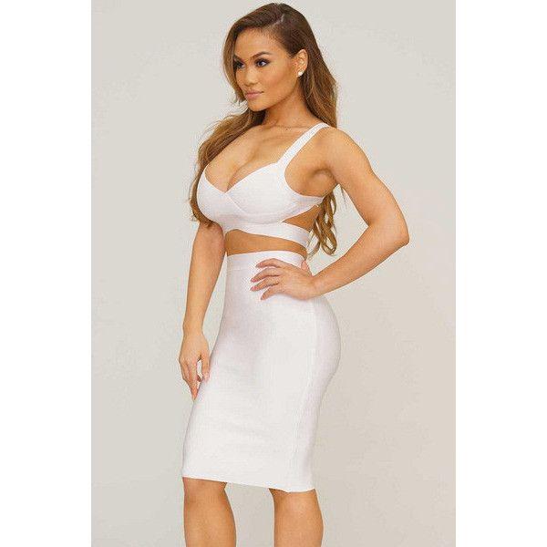 White Two-Piece Strap Cropped Top Skirt Set LAVELIQ