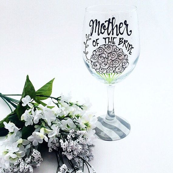 Mother of the Bride Glass / Painted Bouquet / by AudraStyleArt
