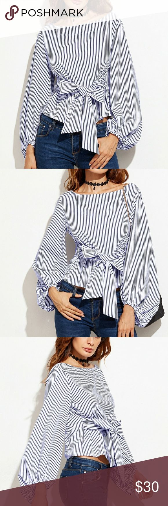 COMING THURSDAY! NWT Striped Front Bow Shirt NWT Blue and White Striped Front Bow Top! Tops