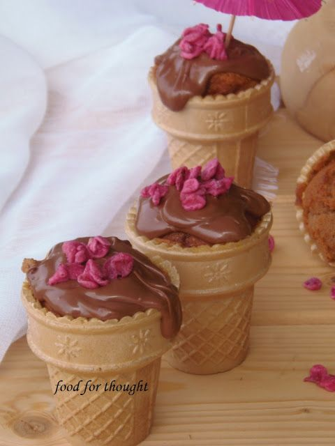 Cupcakes με Μερέντα σε Χωνάκια Παγωτού