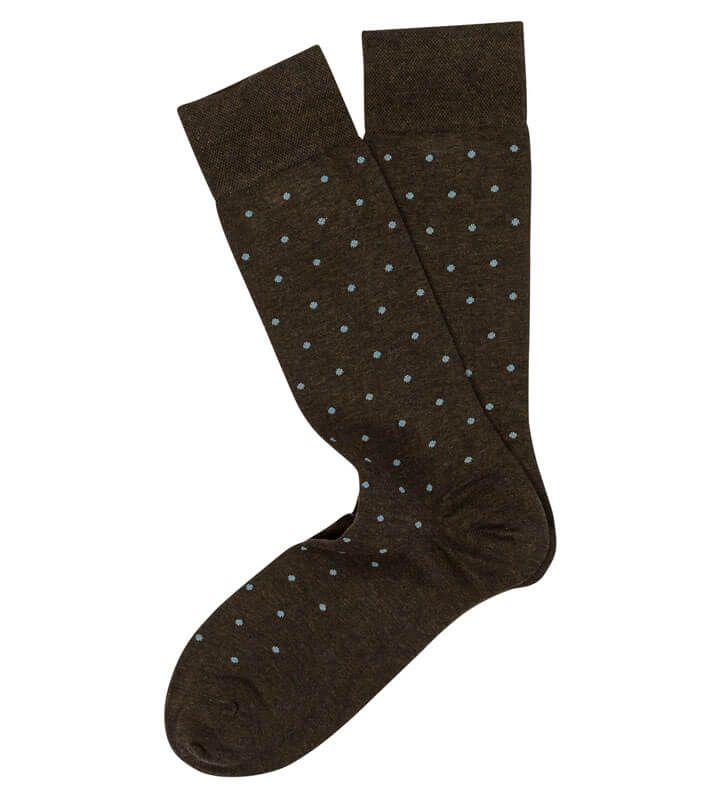 Marcoliani Mens Pima Cotton Polka Dot Dress Socks