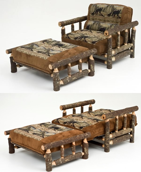 hickory chair  u0026 ottoman futon   clever  fortable space saving   many rustic  u0026 wildlife fabrics 27 best rustic hickory furniture images on pinterest   hickory      rh   pinterest