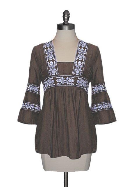 Embroidered Silk Tunic in Mocha