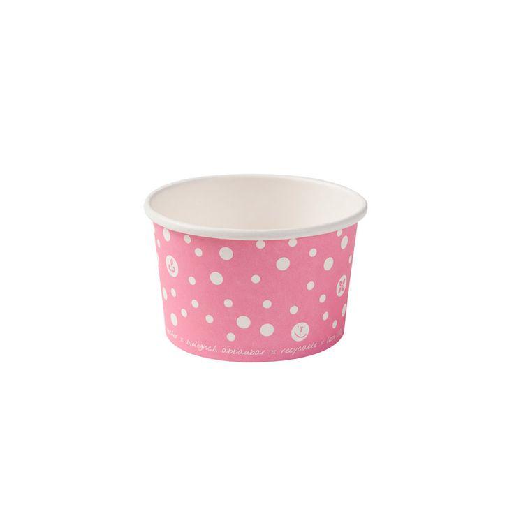 Pinker Eisbecher aus Pappe mit Biobeschichtung 75ml