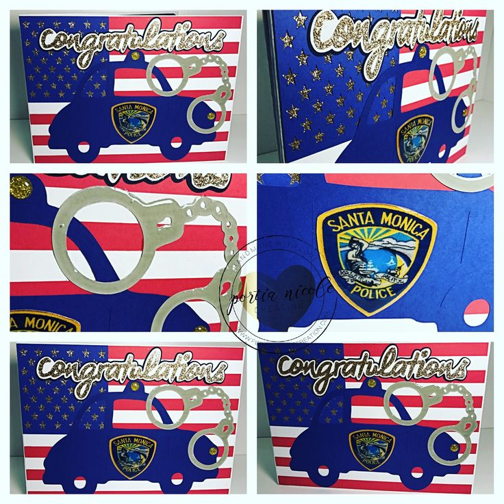 A custom made hand over card for a police officer graduating for the police academy. Portia Nicole Creation can customize any card for any occasion. #policeacademy #police #copcar #congratulations #greetingcards #holidaycards #papercraft #crafts #cardstock #americanflag #handcuffs #unique #etsy #crafter #handmade #custommade