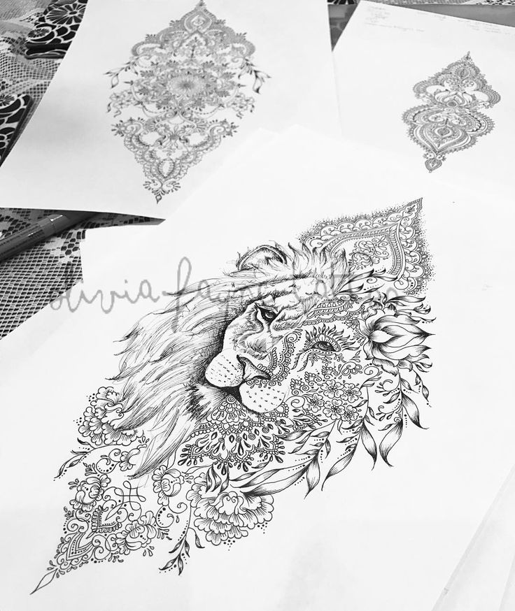 Lion design for the lovely Keren #liontattoo #mandalatattoo #mandala #lion