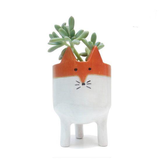 Little Tripod Fox Planter - Fox Face Plant Pot - Handmade Ceramic Studio Pottery