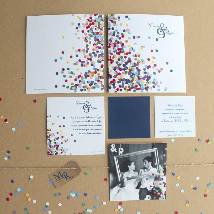 """Enfin ! Une collection complète. Faire-part, invitation repas, remerciements. Faire-part mariage """"Confettis"""" http://parfaire-fairepart.fr/index.php/boutique/166/Confettis"""