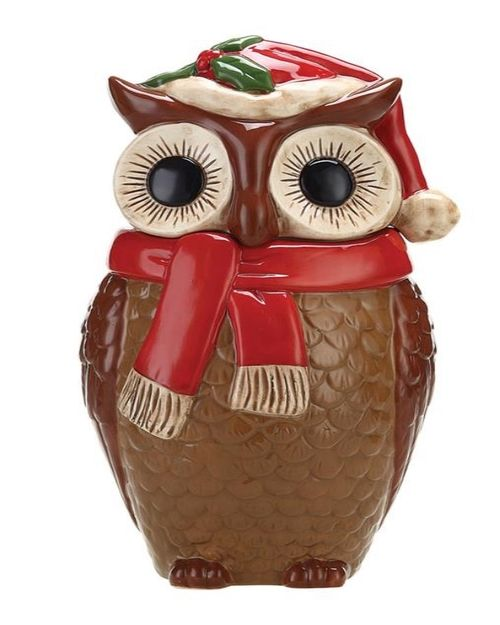 Christmas Home Decor Collection Ceramic Owl Cookie Jar — White Owl & Company