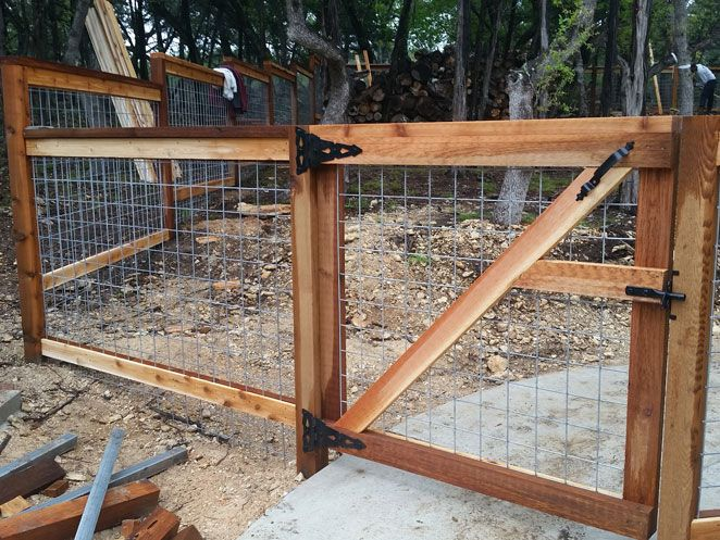 cedar cattle panel fence with gate