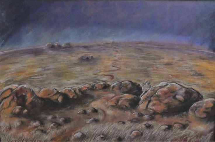 Leigh Carbines - The Centre in Flower (Drought). Pastel on acid free rag 120cm x 90cm