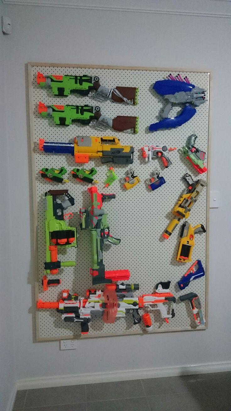 Nerf Gun Storage Rack Pegboard With Pine Frame Nerf