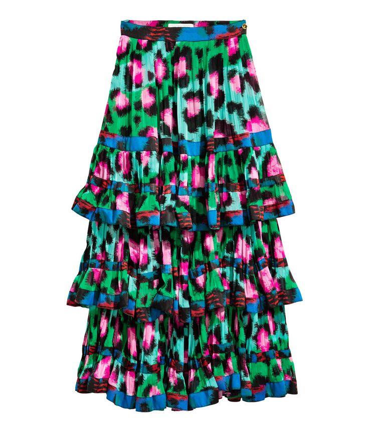 Plissierter Chiffonrock | Grün/Rosa | Damen | H&M DE