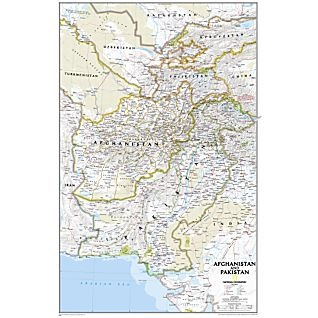 Afghanistan and Pakistan Political Map, Laminated | National Geographic Store