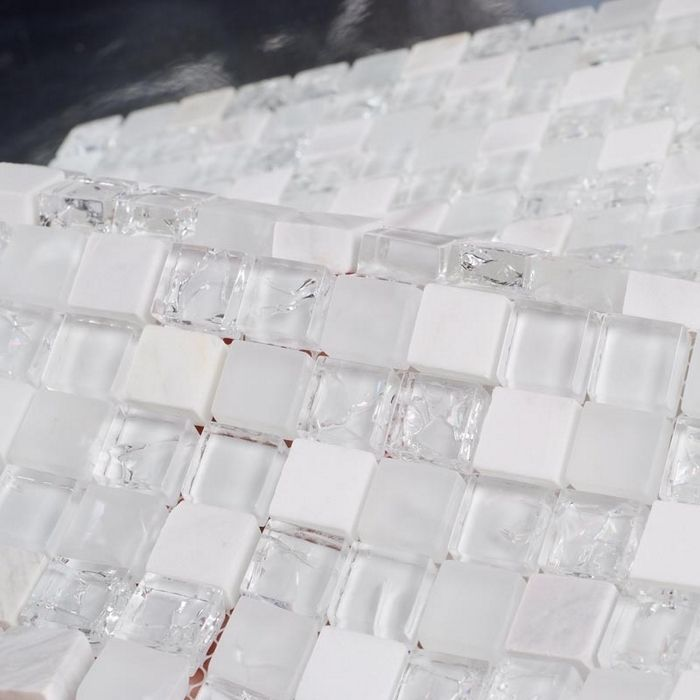 Find More Mosaics Information about white stone mixed ice crackle clear glass mosaic  bathroom mosaic tiles kithcen backsplash white mixed clear glass stone mosaic,High Quality tile ball,China tiles parquet Suppliers, Cheap tile hole from HOMER MOSAIC on Aliexpress.com