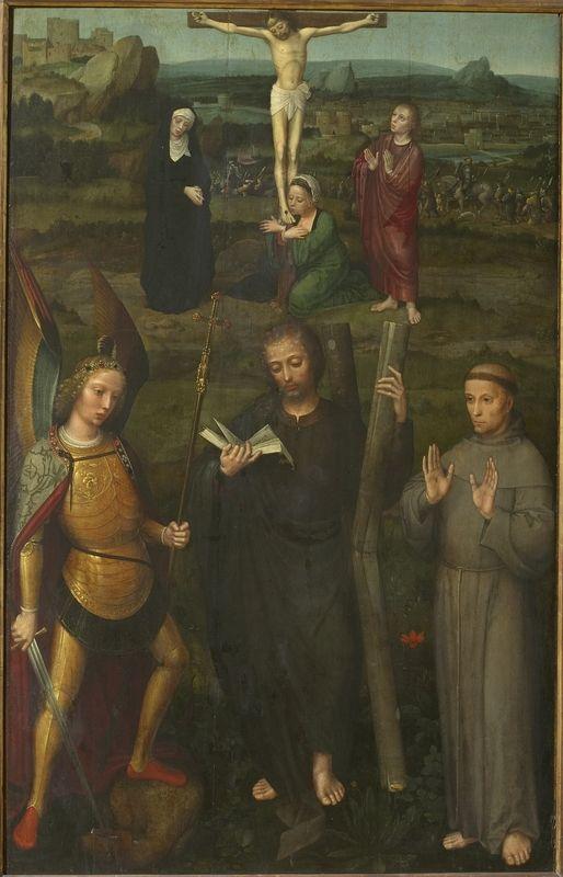 Christ en croix avec archange Michel et saint François d'Assise. Isenbrant, Adrian ; Szépművészeti Múzeum ; Budapest[HU]