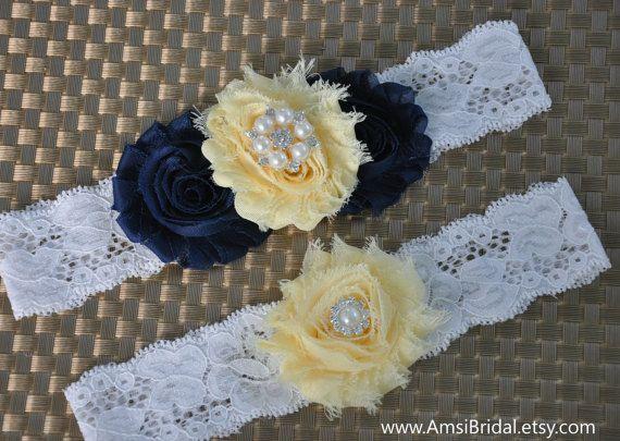 Navy Blue garter,Pale Yellow Garter,Navy Blue and Yellow garter,Garters Sets,Yellow Wedding,Navy Blue wedding,Navy and Yellow wedding,garter