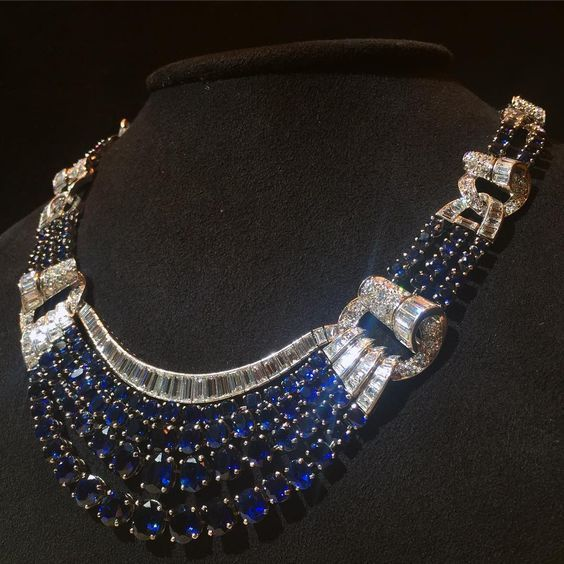 Macklowe Gallery: a fabulous French Retro mid-century sapphire and diamond necklace (=)