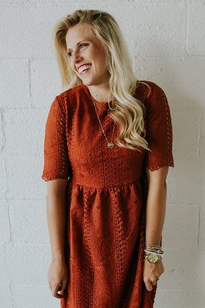 Dark Orange Lace Dress | ROOLEE