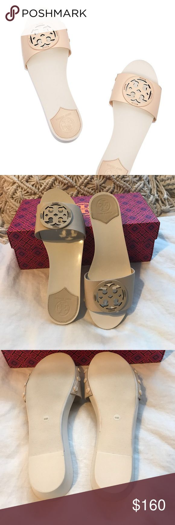 """TORY BURCH MILLER SLIDE 100% Authentic leather miller slide. Color is """"dulce de leche"""" Comes with original box                                                   1.18"""" (3 cm) lacquered wedge heel and platform Napa leather upper Cut-out double-T logo Powder-coated nailhead rivets Partial leather lining Rubber sole Tory Burch Shoes Sandals"""