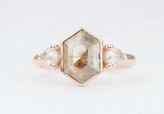 1.3ct Hexagon Rosecut Diamond with Milky Diamond Sides 14K | Etsy | Etsy engagement rings, Rose ...