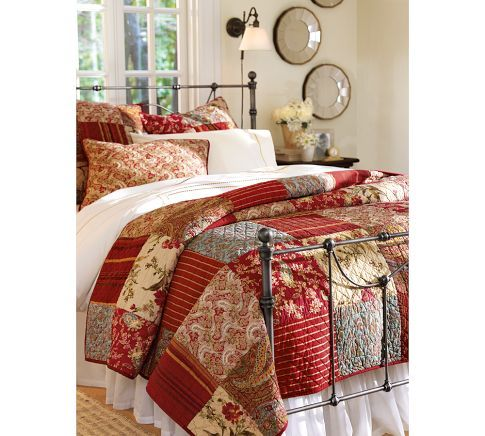 Georgia Patchwork Quilt & Sham - Red | Pottery Barn - It's so pretty.  Wish I could make something like this.