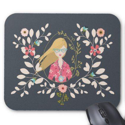 Blonde Long Hair Girl - Selfie Portrait Mouse Pad - portrait gifts cyo diy personalize custom