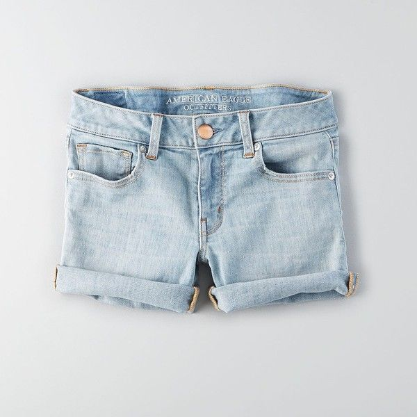 AEO Denim X Midi Shorts ($45) ❤ liked on Polyvore featuring shorts, lovely light, fitted shorts, stretch denim shorts, american eagle outfitters, stretchy shorts en low rise denim shorts
