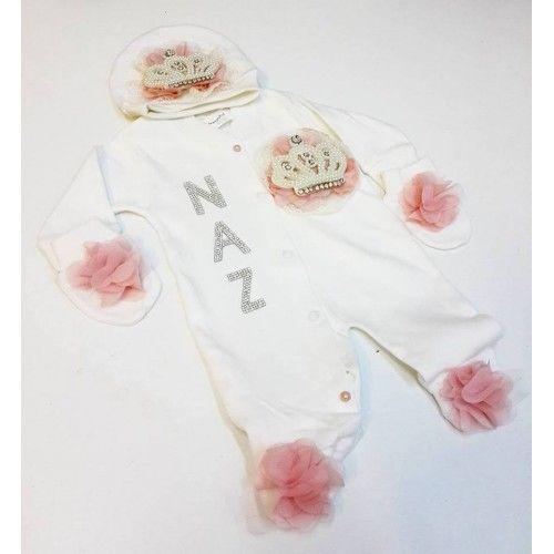 Prenses Tacı Konseptli Kız Bebek Tulum (Hastane Çıkışı) Takımı