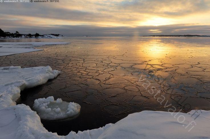 Auringon kultaama - talvimaisema auringonlasku heijastus hämärä ilta Itämeri jäinen jää jäätyvä keltainen kylmä meri merimaisema oranssi pakkanen pilvi pilvinen rannikko saari silhuetti talvi talvinen väri värikäs maisema