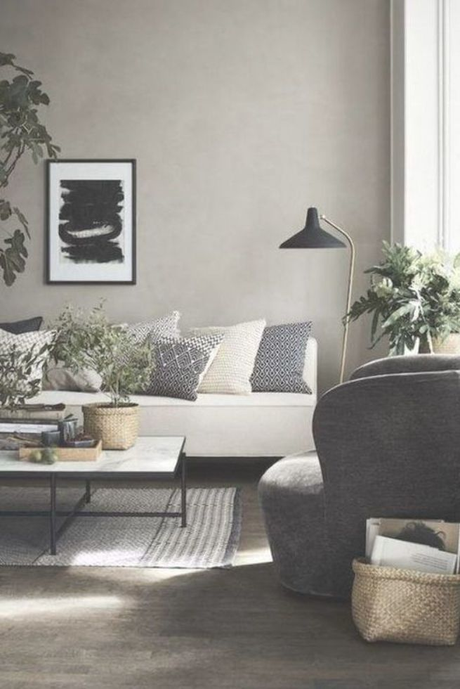 Nordic Modern Living Room Dark Wooden Floor White Couch Grey Wall Plants Sc Nordic Living Room Scandinavian Design Living Room Indian Living Rooms