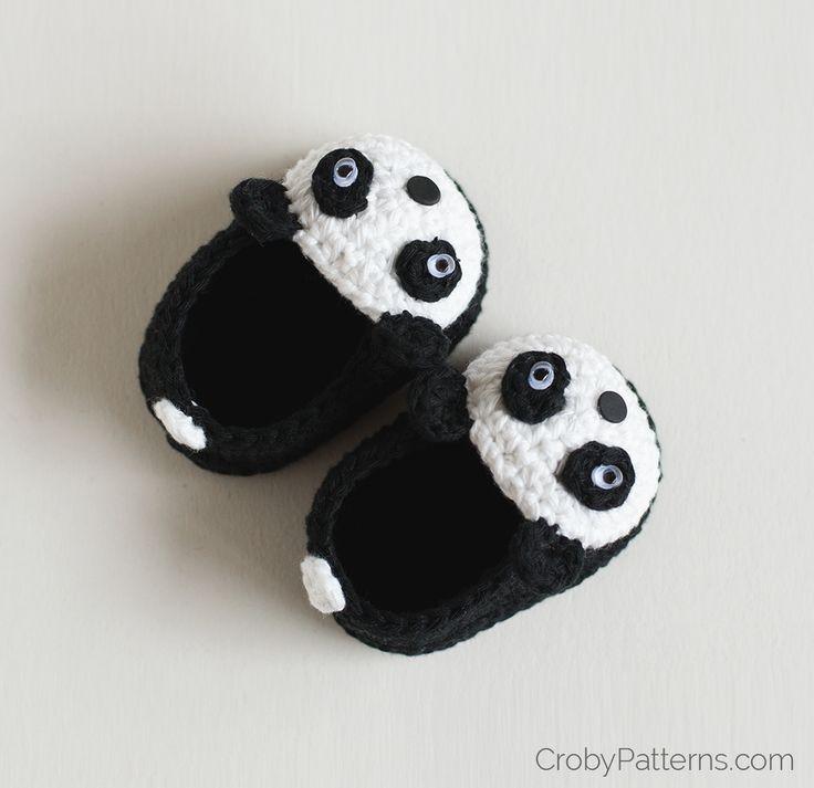 gehäkelte Panda Babyschühchen