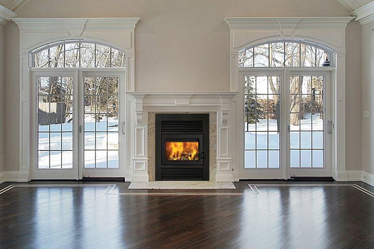 Windows surrounding wood burning stove
