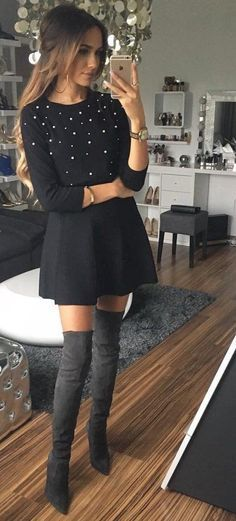 Winter holiday outfit idea! Love this so cute. #fall #outfits · Studded Black Dress + Knee Length Boots